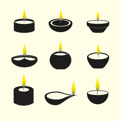 diwali candles with flame icons set eps10