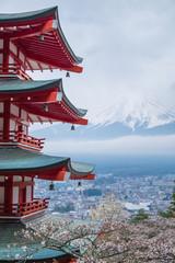 Fotobehang Blauwe hemel Chureito Pagoda with mount Fuji background in cloudy day