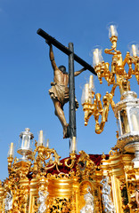 Jesus on the cross, Holy Week in Seville, Andalusia, Spain