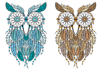 dreamcatcher owl, vector