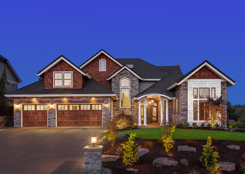 Beautiful Home Exterior at Night