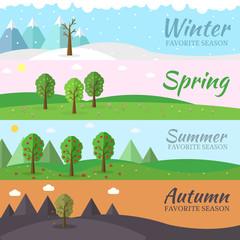 season icon set of nature tree background