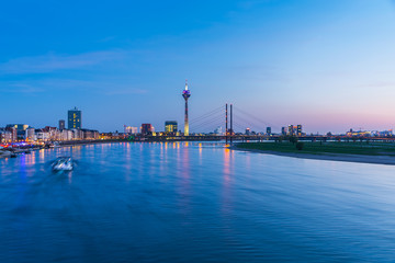blue hour Skyline of Dusseldorf