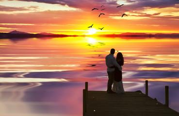 enamorados en el mar