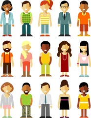 People characters stand set in flat style