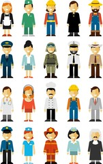 People occupation characters set in flat style isolated