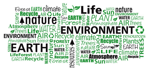 Environment cloud word collage illustration