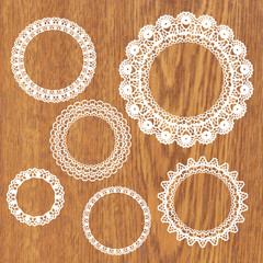 Set of crochet lacy frames.
