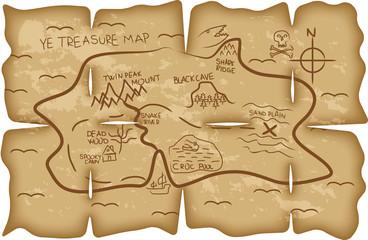 Illustrated pirate treasure map