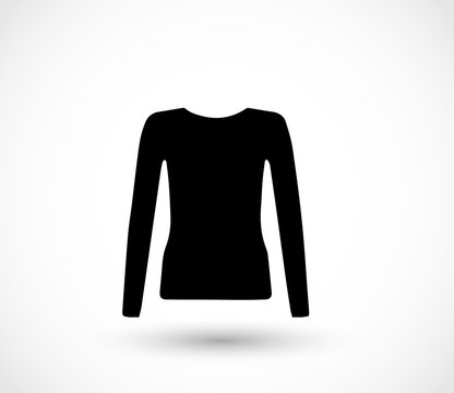 Female long sleeve shirt icon vector