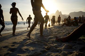 Ipanema Beach Rio de Janeiro Brazil Sunset Silhouettes