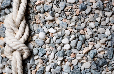 Closeup of marine knot lying on seashore covered by pebbles