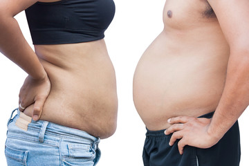 men and women body with fat belly and stretch marks