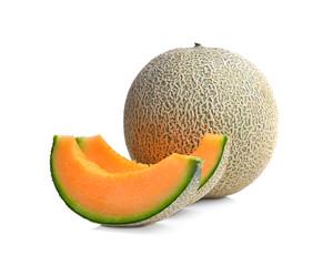 ripe melon on white background