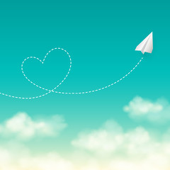 Love travel concept a paper plane flying in the sunny sky