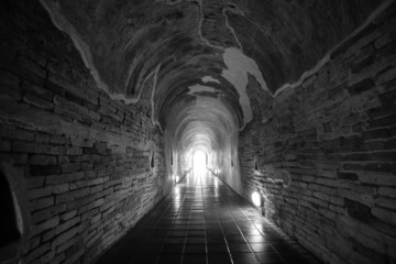 Old tunnel in the wat template thailand