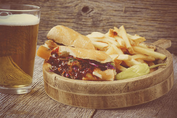 Barbeque Pulled Pork Sandwich with BBQ Sauce.