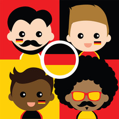 Group of happy Germany's supporters