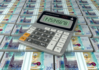 3D Calculator on Kuwait currency banknote