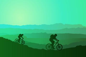 Wall Murals Cycling Mountain bike rider in wild mountain nature landscape
