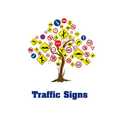 Traffic signs on white background