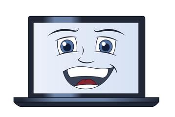 Smiling laptop computer