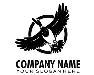 duck fly logo image vector