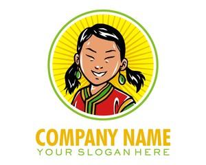 girl squint logo image vector