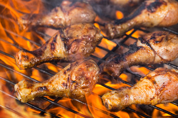 Chicken legs on grill