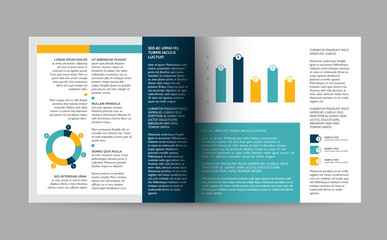 Brochure design. Magazine layout for infographics.