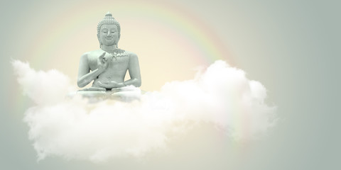 Sitting Buddha in the clouds.