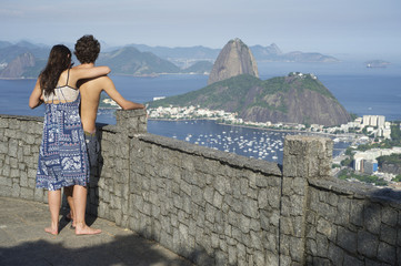 Couple Rio de Janeiro Brazil Skyline Scenic Overlook