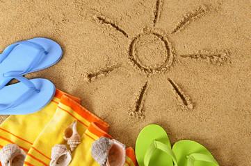 Beach background with sun