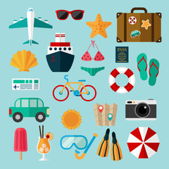 Flat icons set of recreation and travel.