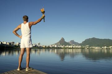 Young Man Holding Torch Rio de Janeiro