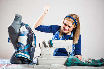 Tailor is angry because sewing machine is not working