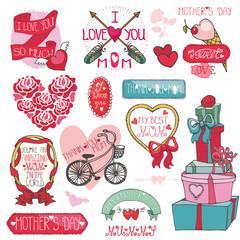 Mothers day decor elements set.Ribbons,frames,roses,hearts,lette