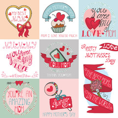 Mothers day cards set.Ribbons, hearts,decor elements,lettering