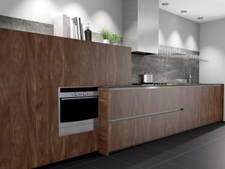 Holzküche aus Nussbaum mit Fliesenboden