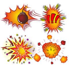 Retro Comic Book Vector Boom Explosion