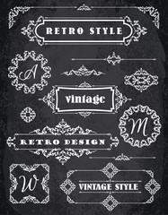 Set of Retro Vintage Badges, Frames, Labels and Borders. Chalk B