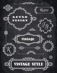 Set of Retro Vintage Badges, Frames, Labels and Borders. Chalk B