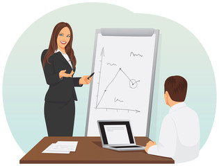 Smiling business woman pointing to the flip chart with a scheme