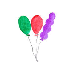 Colorful air baloons. Watercolor object on the white background