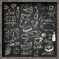 Vector set of hand-drawn food on chalkboard.