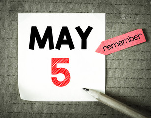 Note with 5 may