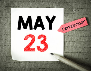 Note with 23 may