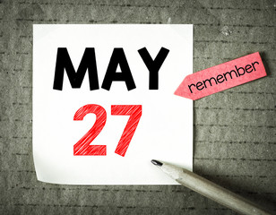 Note with 27 may