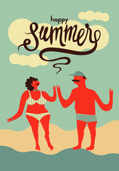Happy summer. Calligraphic retro vector poster.