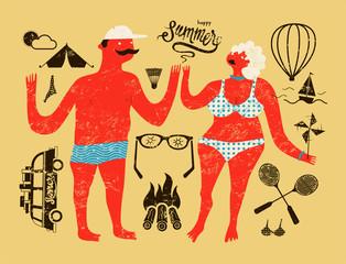 Happy summer. Typographic retro grunge vector poster.